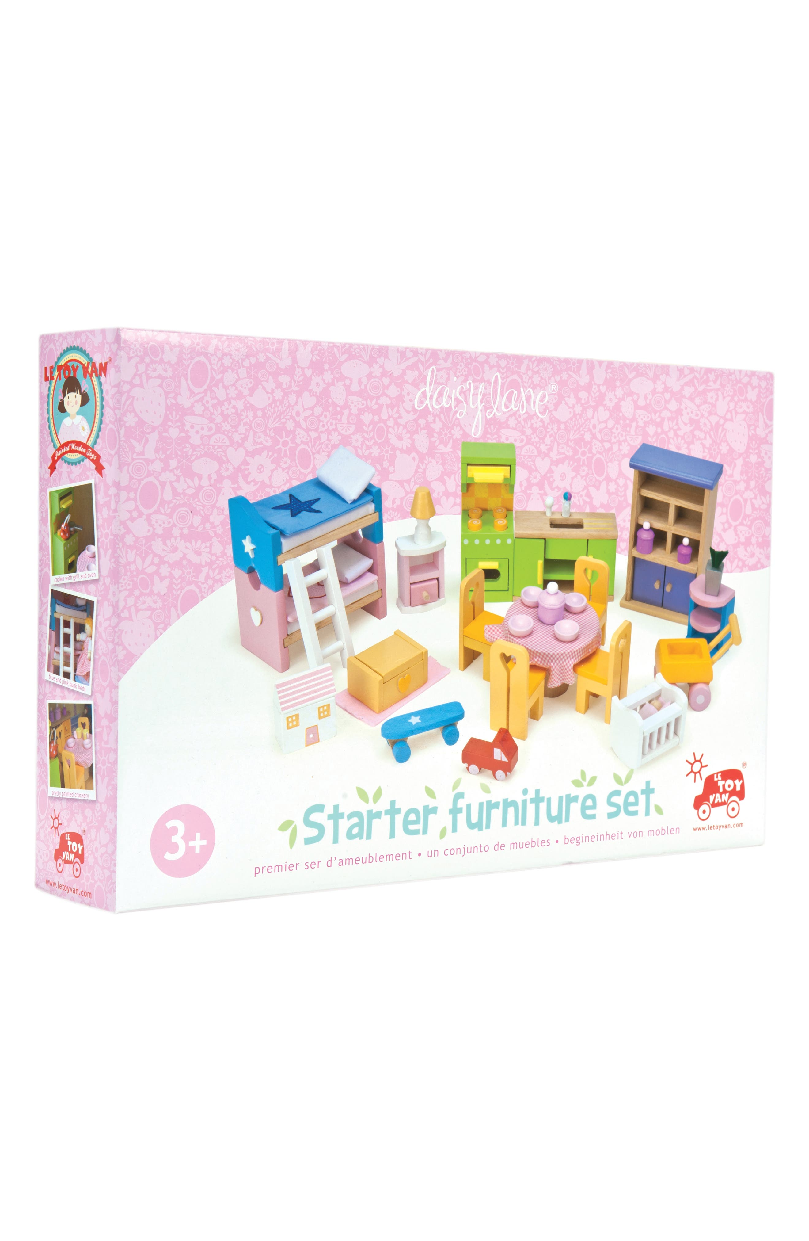The perfect gift for any child, this 37-piece set features plenty of furniture to fill any doll house. Elevated in fun colors, this set includes everything from a table cloth-covered dining table set to bunk beds and a kitchen set up. Style Name: Le Toy Van Doll House Furniture Set. Style Number: 6124924. Available in stores.