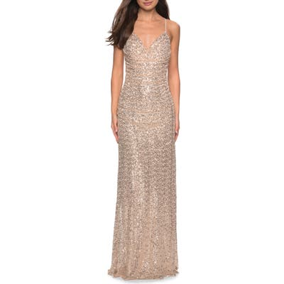 La Femme Ruched Bodice Sequin Evening Dress, Yellow
