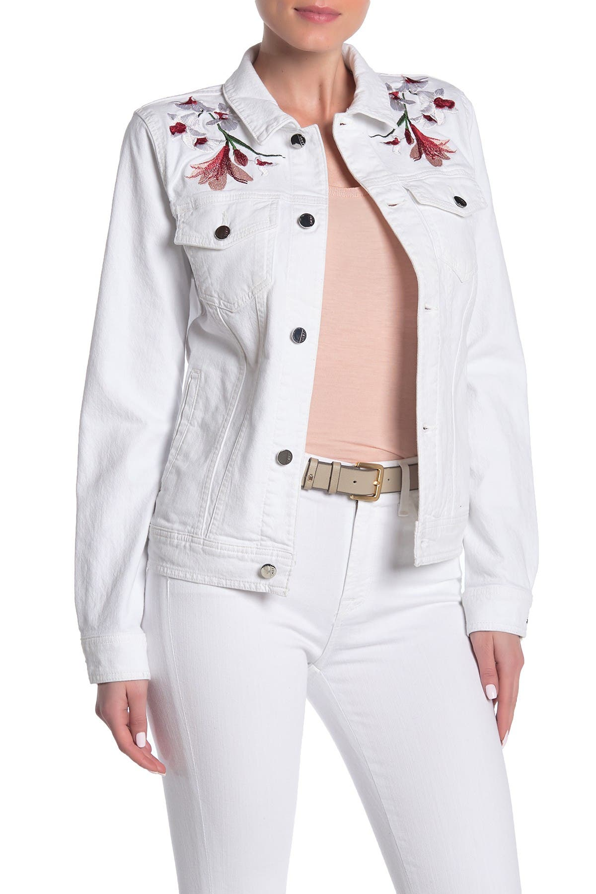 Image of Jen7 by 7 For All Mankind Floral Embroidered Denim Trucker Jacket