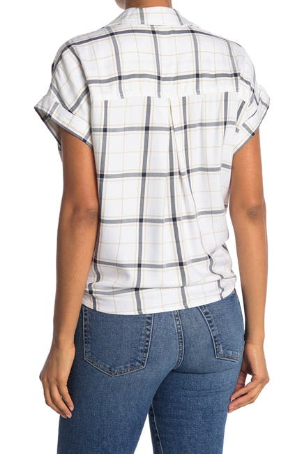 Image of Sanctuary Borrego Windowpane Tie Bottom Shirt