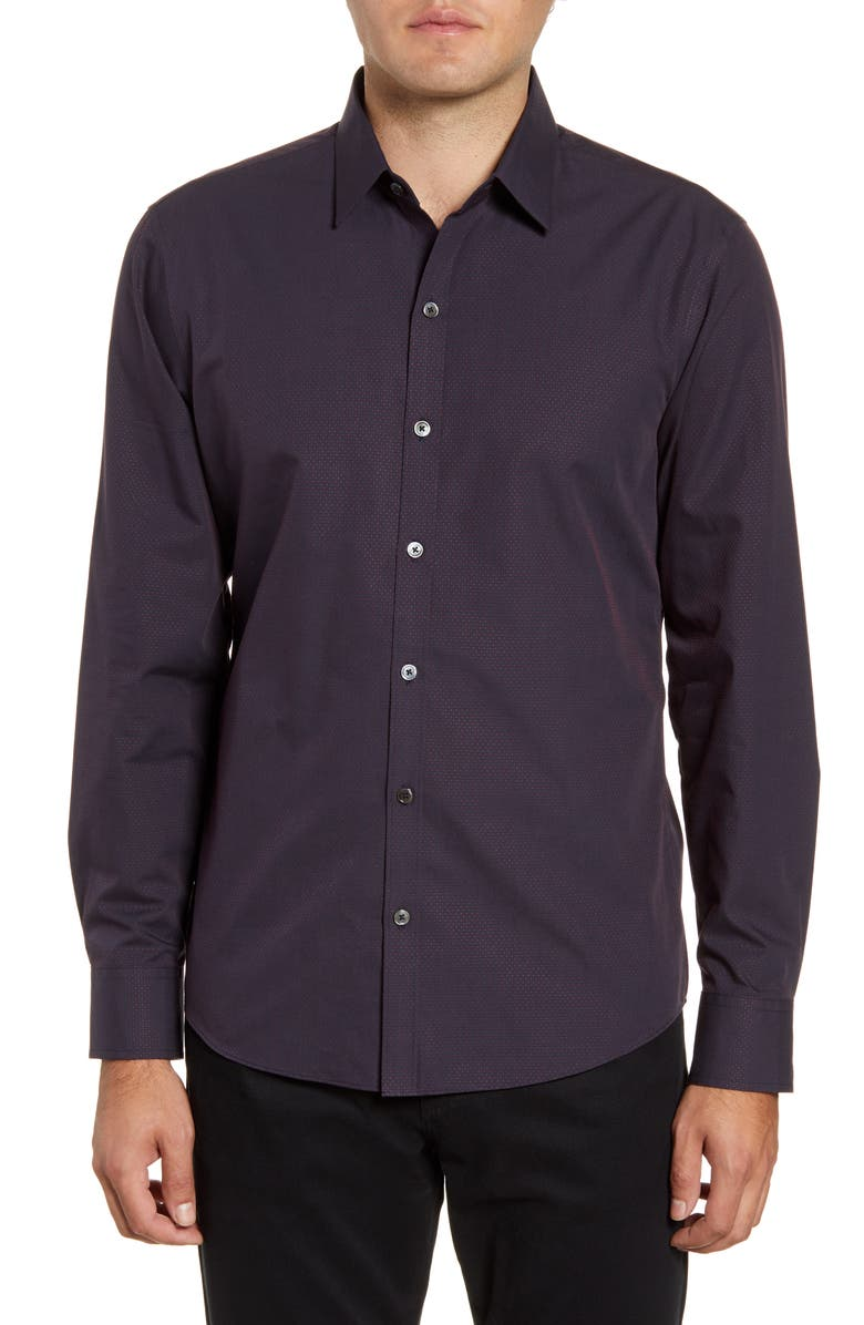 ZACHARY PRELL McCune Regular Fit Dobby Button-Up Sport Shirt, Main, color, NAVY