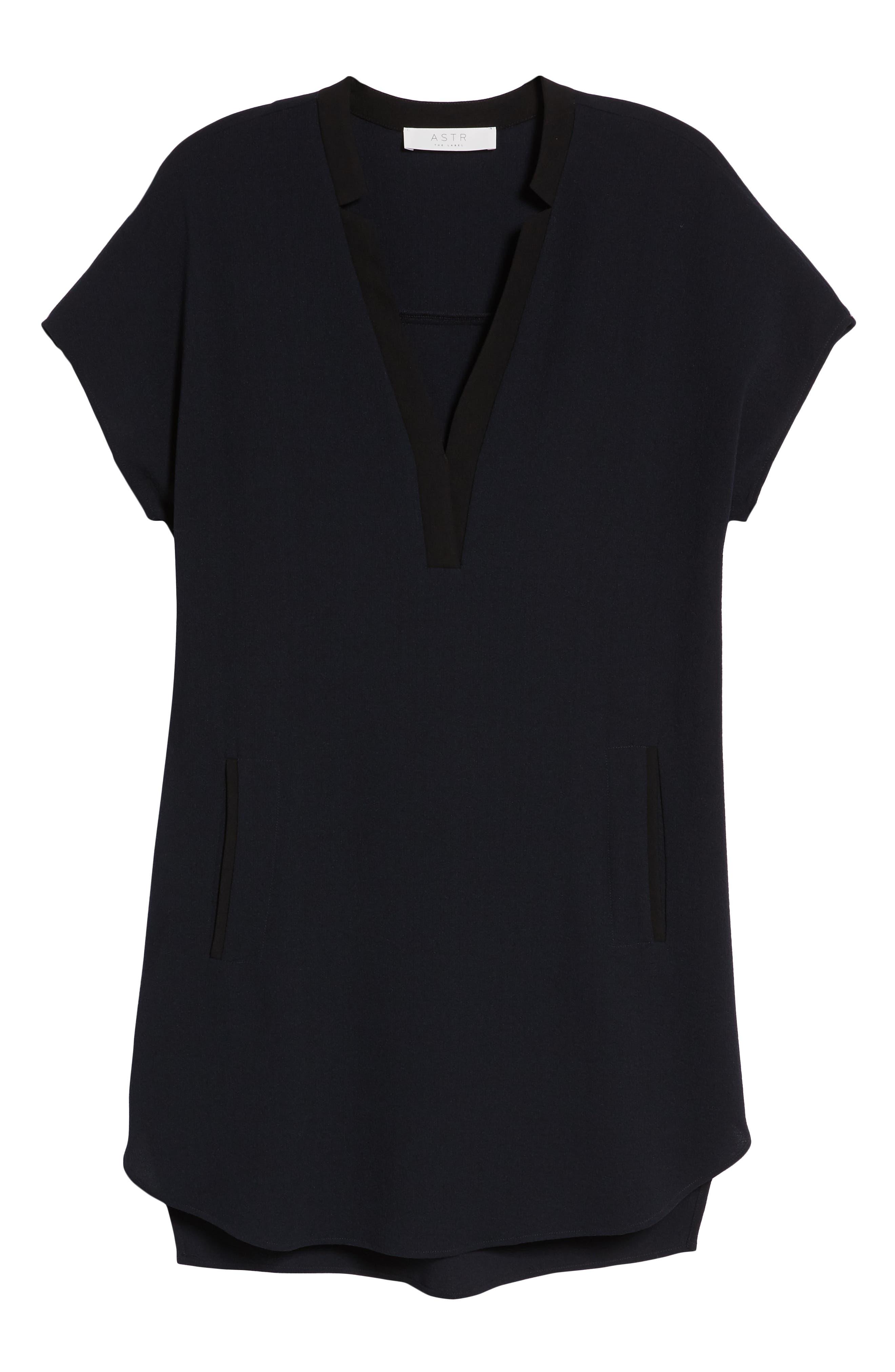 ,                             ASTR V-Neck Crepe Shift Dress,                             Alternate thumbnail 7, color,                             400