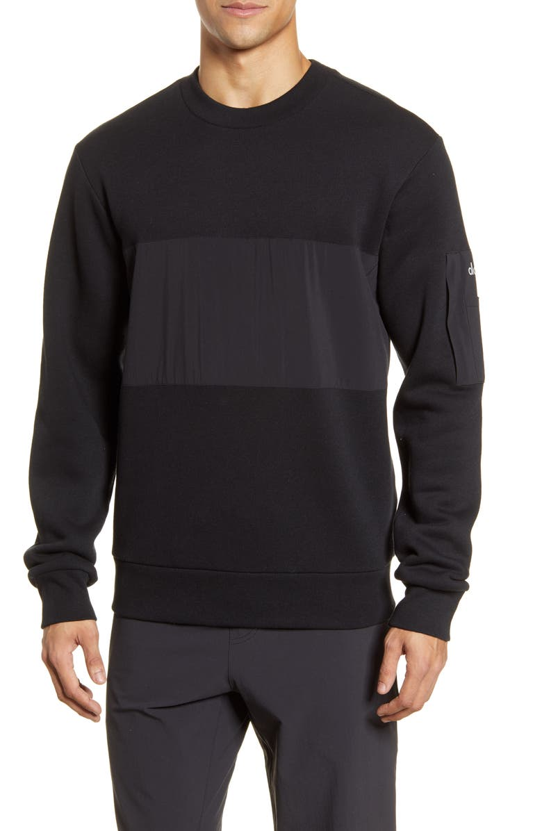 ALO Traverse Mixed Media Pullover, Main, color, BLACK