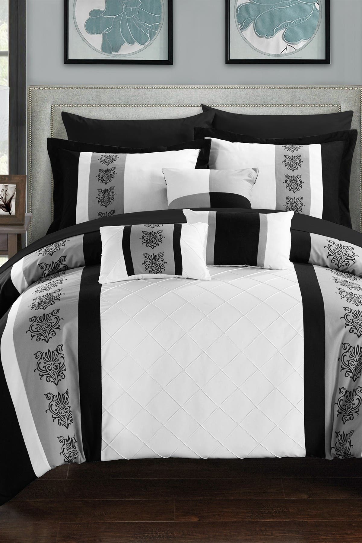 Chic Home Bedding Queen Adam Pintuck Pieced Color Block Embroidery Comforter 10 Piece Set White Nordstrom Rack