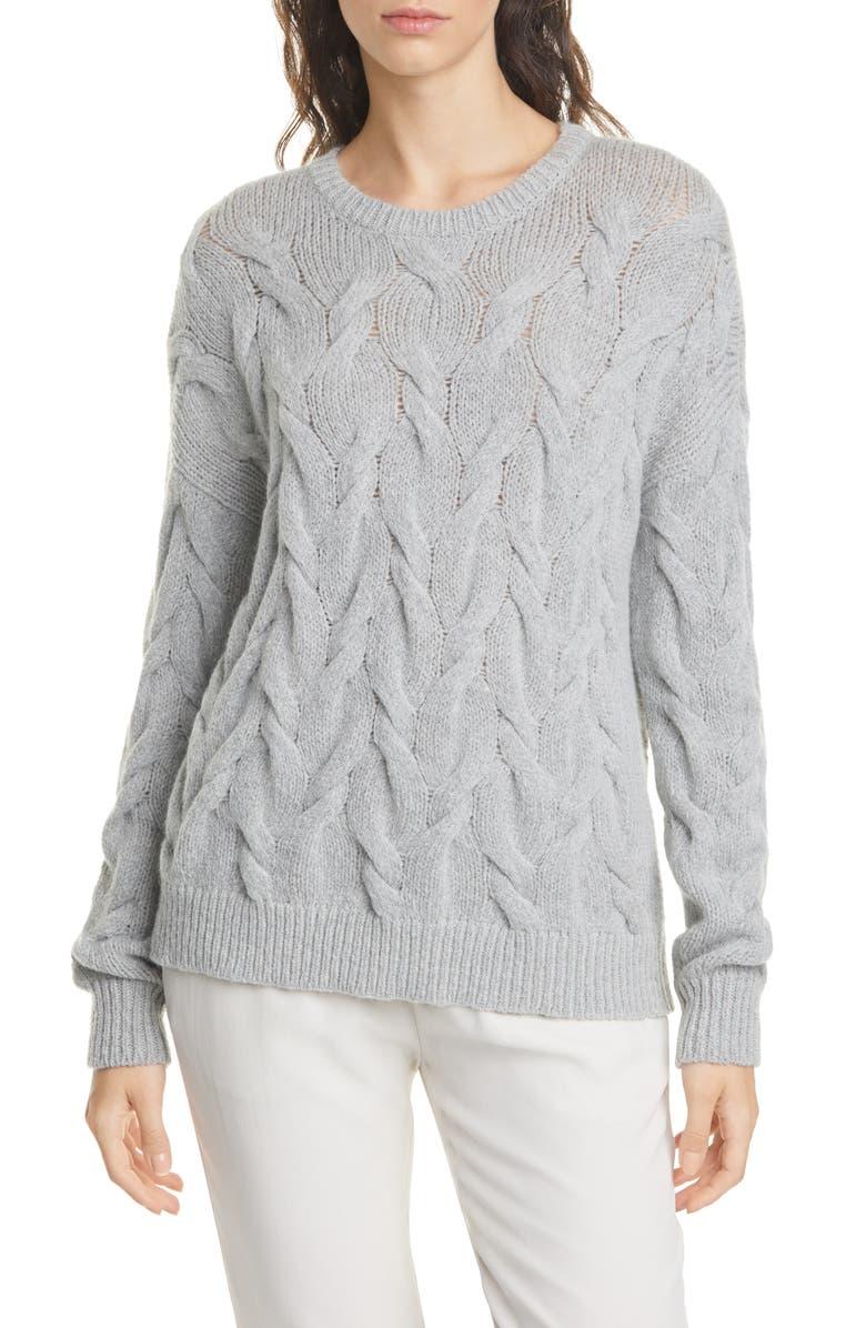 EILEEN FISHER Crewneck Wool Blend Sweater, Main, color, DARK PEARL