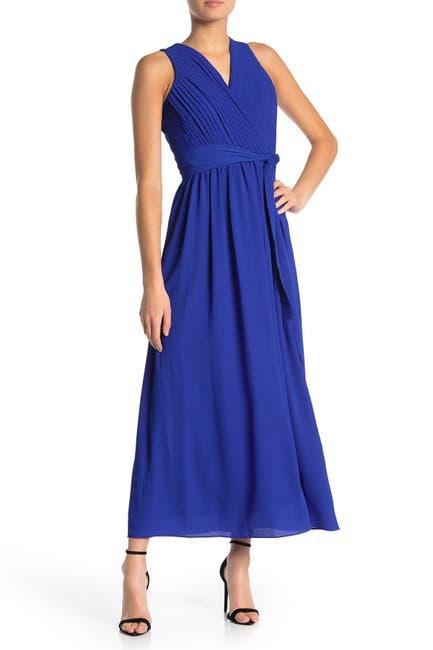 Image of Donna Ricco Crepe Chiffon V-Neck Maxi Dress