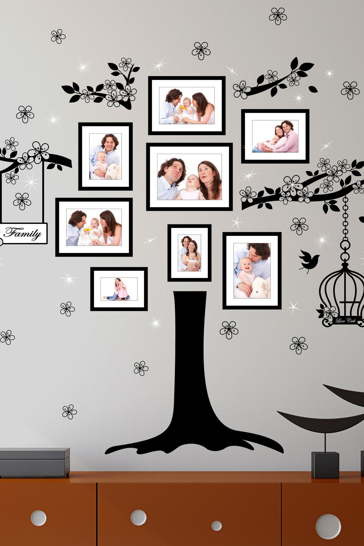 Image of WalPlus Huge Family Tree with Swarovski Crystals Wall Sticker Decal