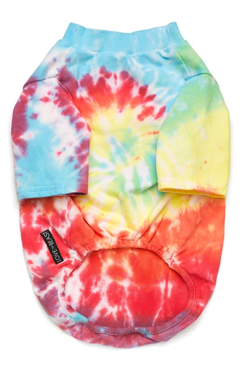 LOVETHYBEAST Tie Dye Dog Tee, Main, color, RAINBOW