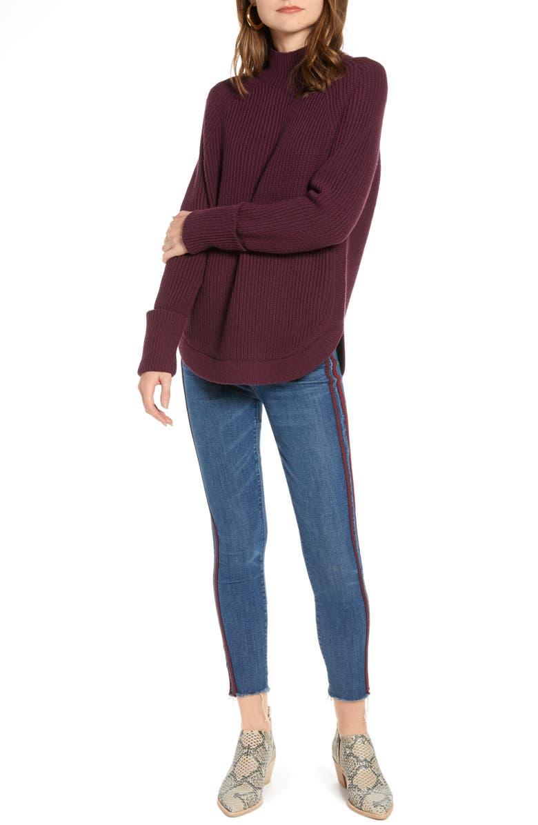 TREASURE & BOND Mock Neck Sweater, Main, color, BURGUNDY STEM