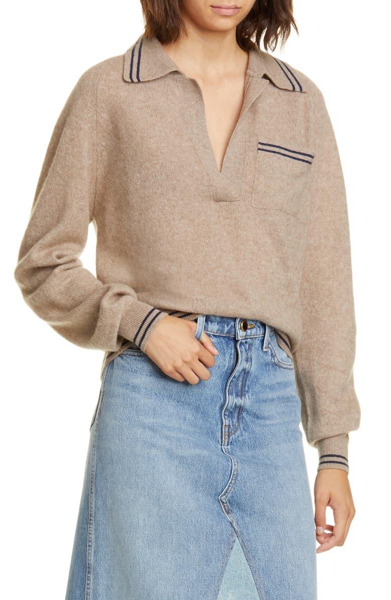 KHAITE Ellen Cashmere Polo Sweater, Main, color, HUSKY/ABYSS STRIPE