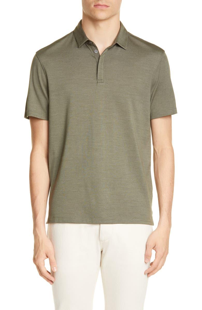 JOHN VARVATOS Montauk Regular Fit Short Sleeve Silk Blend Polo, Main, color, MOSS