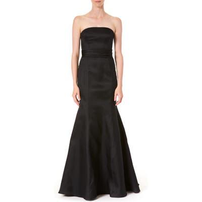 Carolina Herrera Strapless Silk Trumpet Gown, Black
