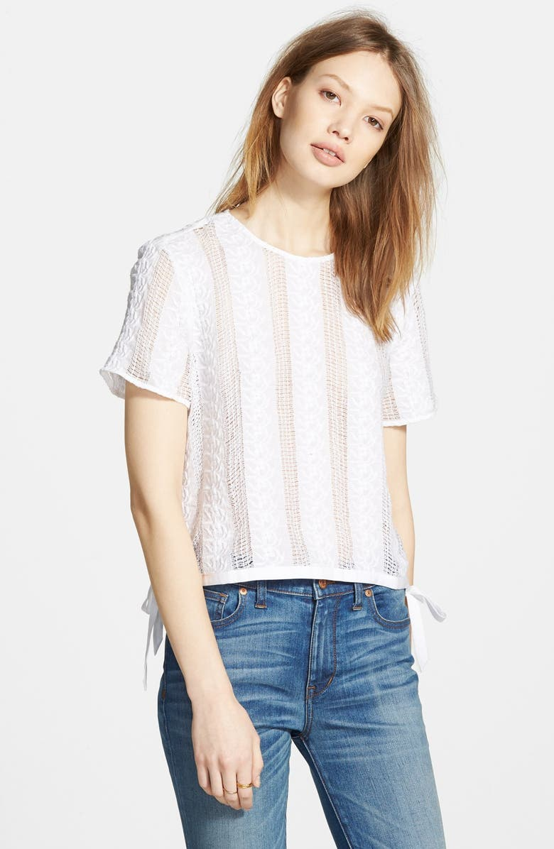 MADEWELL Lace Side Tie Crop Tee, Main, color, 100