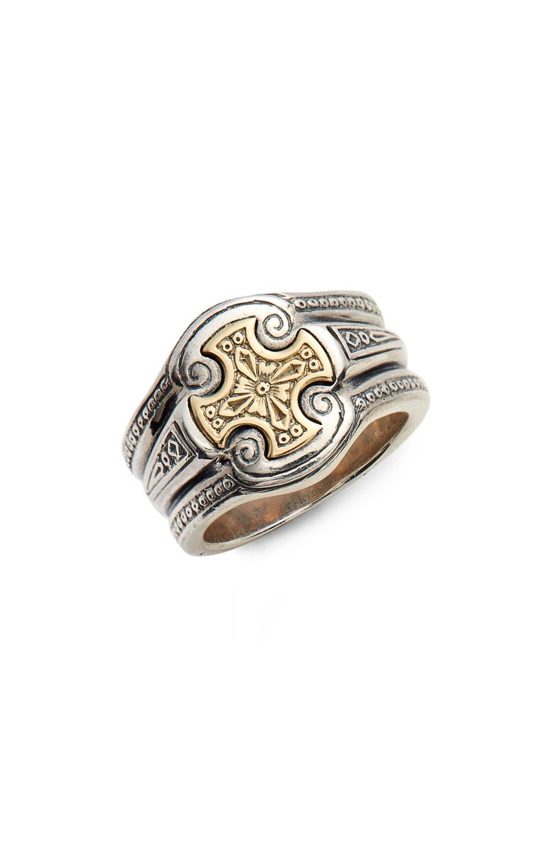 KONSTANTINO Stavros Cross Signet Ring, Main, color, SILVER/ GOLD