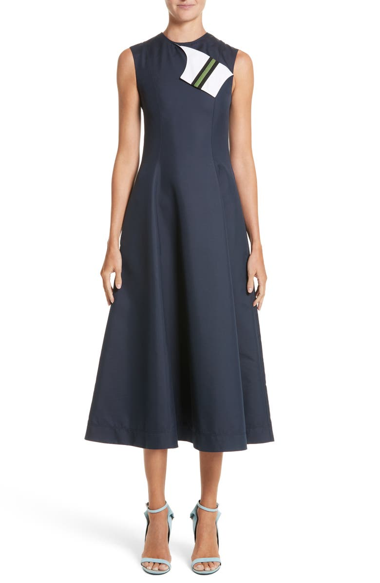 CALVIN KLEIN 205W39NYC Cotton & Silk Dress, Main, color, 416