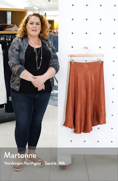 Bias Cut Crinkled Satin Midi Skirt, sales video thumbnail