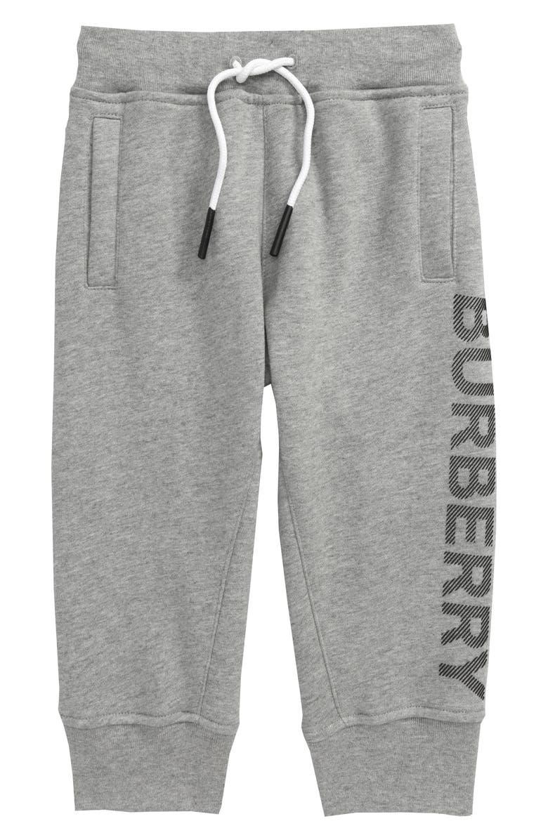 BURBERRY Linus Logo Print Cotton Joggers, Main, color, GREY MELANGE/ BLACK