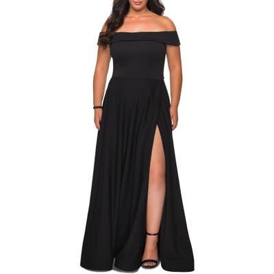 Plus Size La Femme Off The Shoulder Foldover Neckline Gown, Black