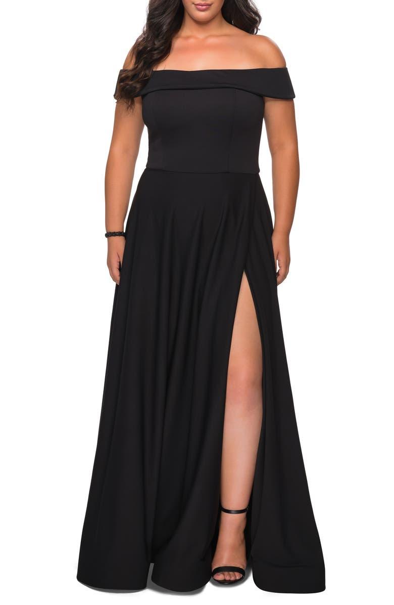 LA FEMME Off the Shoulder Foldover Neckline Gown, Main, color, BLACK