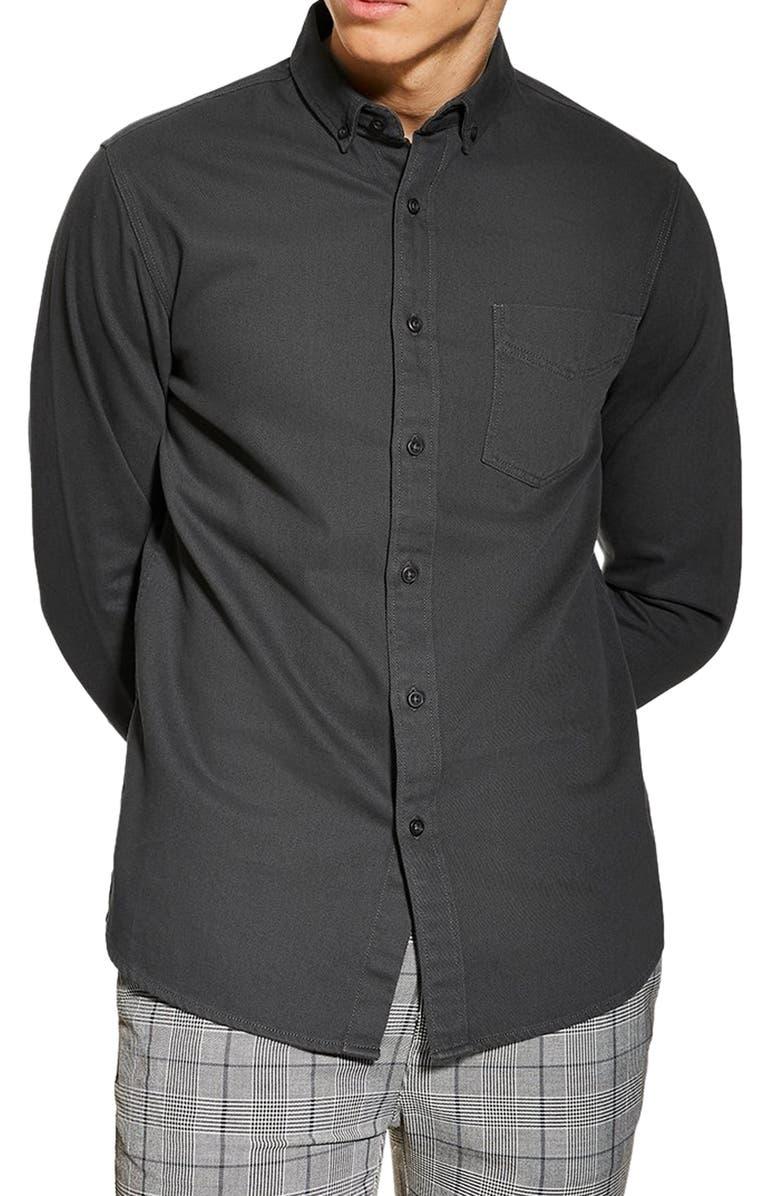 TOPMAN Twill Slim Fit Shirt, Main, color, CHARCOAL