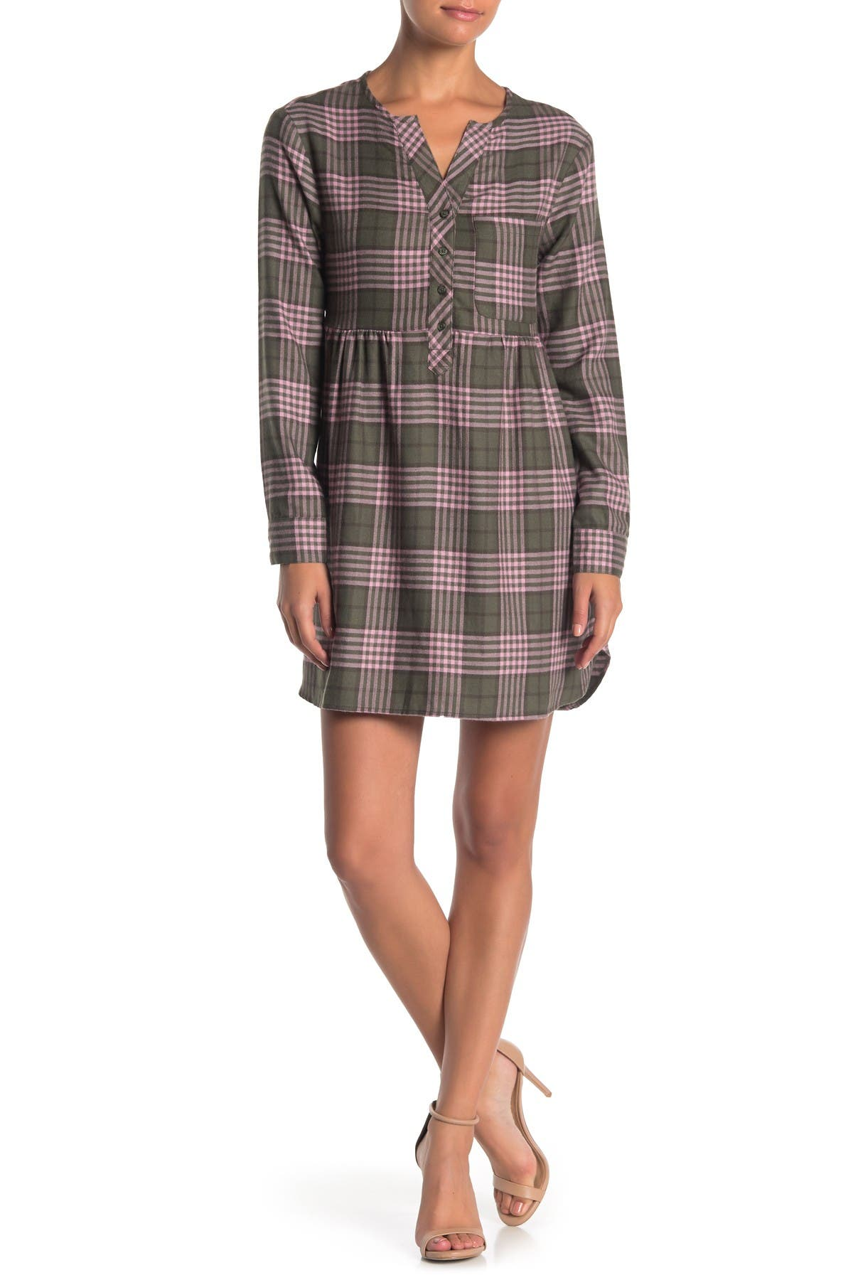 Love Fire Plaid Flannel Long Sleeve Dress Nordstrom Rack