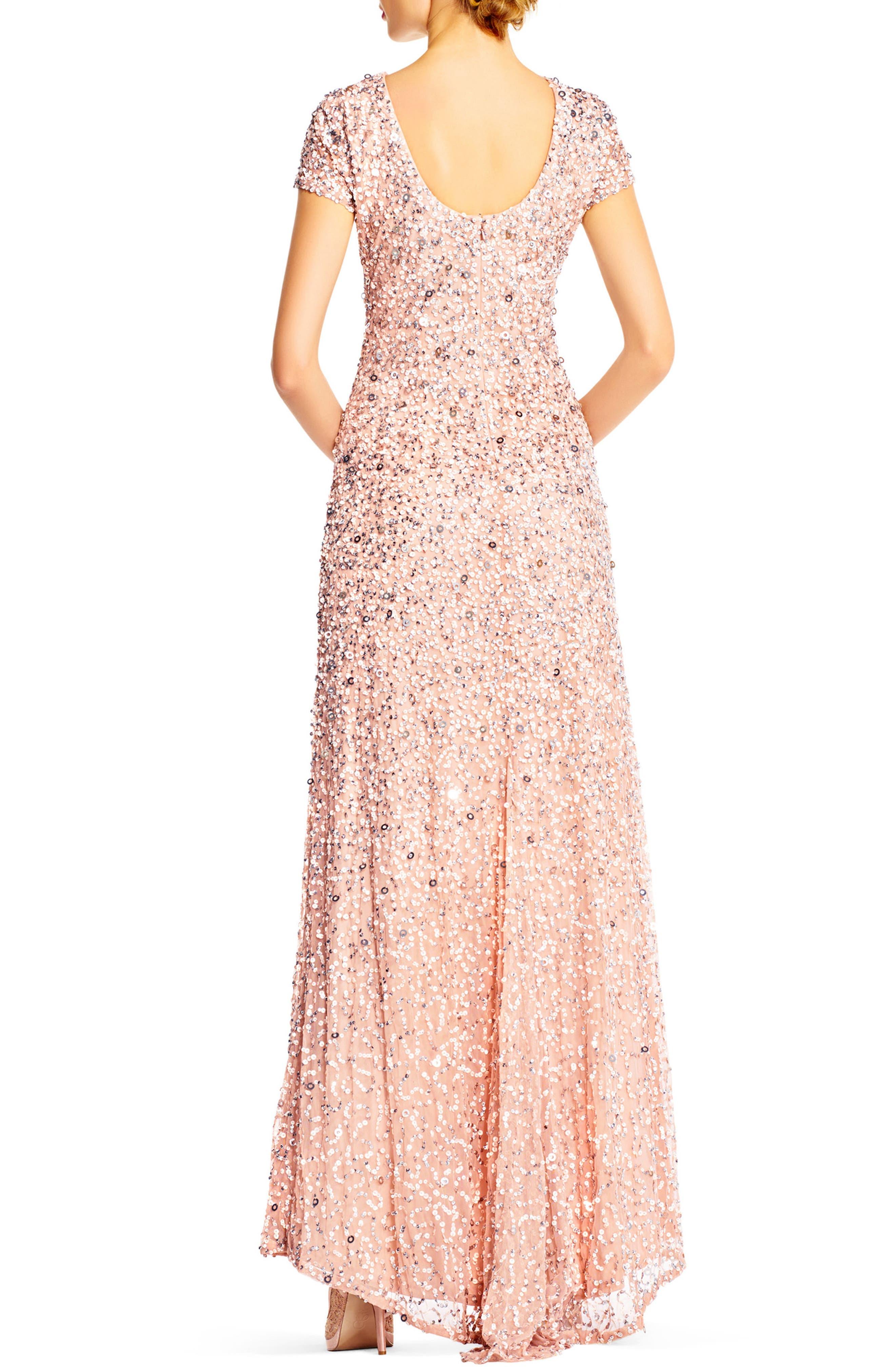 ,                             Short Sleeve Sequin Mesh Gown,                             Alternate thumbnail 16, color,                             250