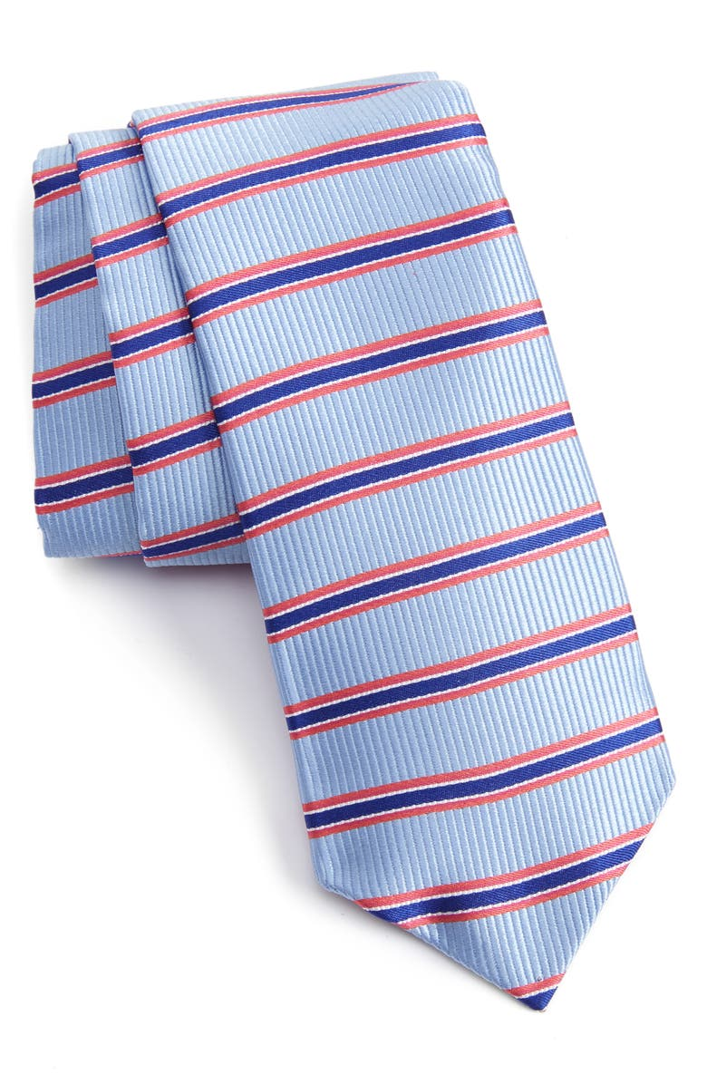 NORDSTROM MEN'S SHOP Sunset Stripe Silk Tie, Main, color, NAVY