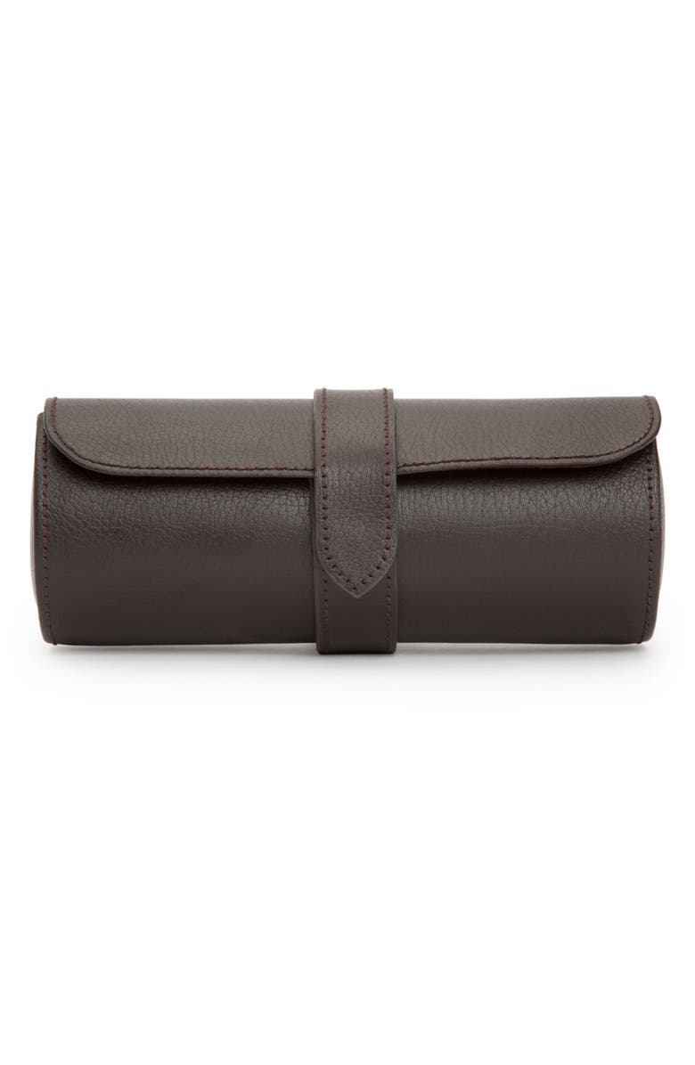 WOLF Black Leather Watch Roll, Main, color, BROWN
