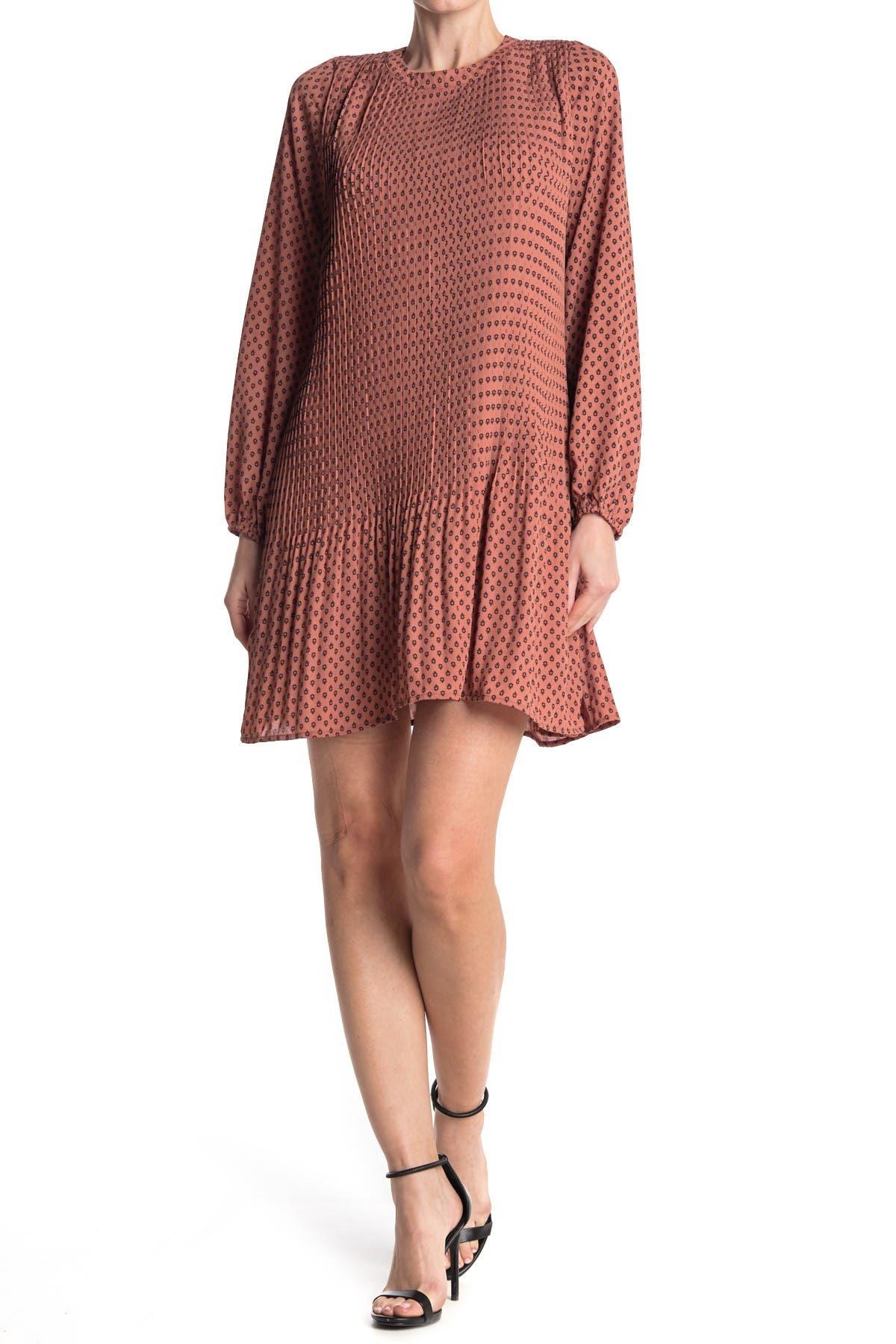Image of KENEDIK Pleated Printed Dress