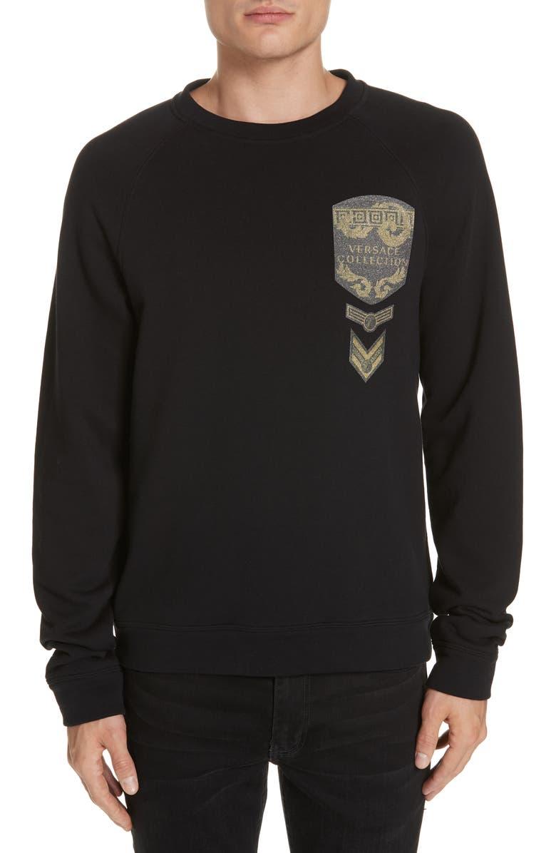 VERSACE COLLECTION Appliqué Sweatshirt, Main, color, 001