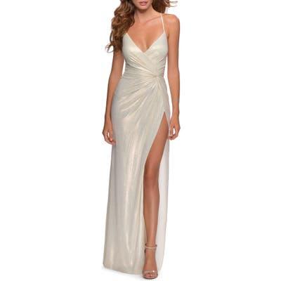 La Femme Glitter Knot Detail Jersey Gown, White