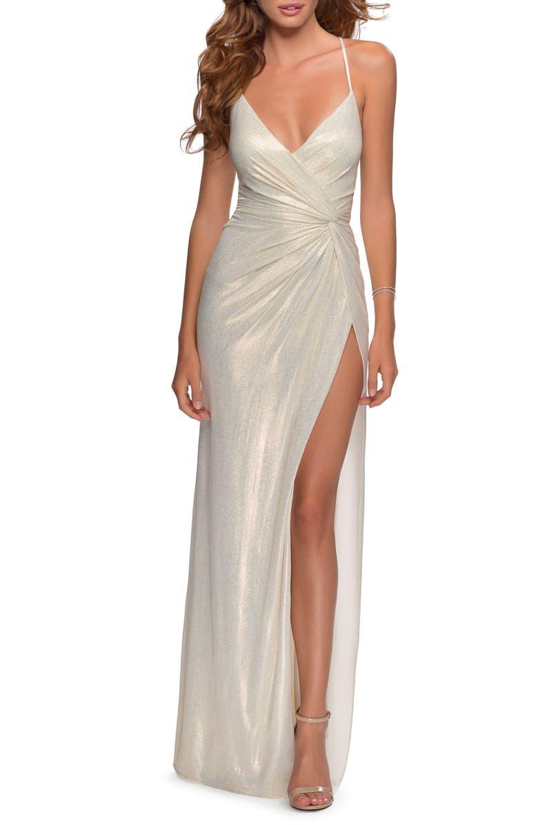 LA FEMME Glitter Knot Detail Jersey Gown, Main, color, 115