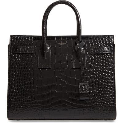 Saint Laurent Small Sac De Jour Croc Embossed Leather Tote - Black