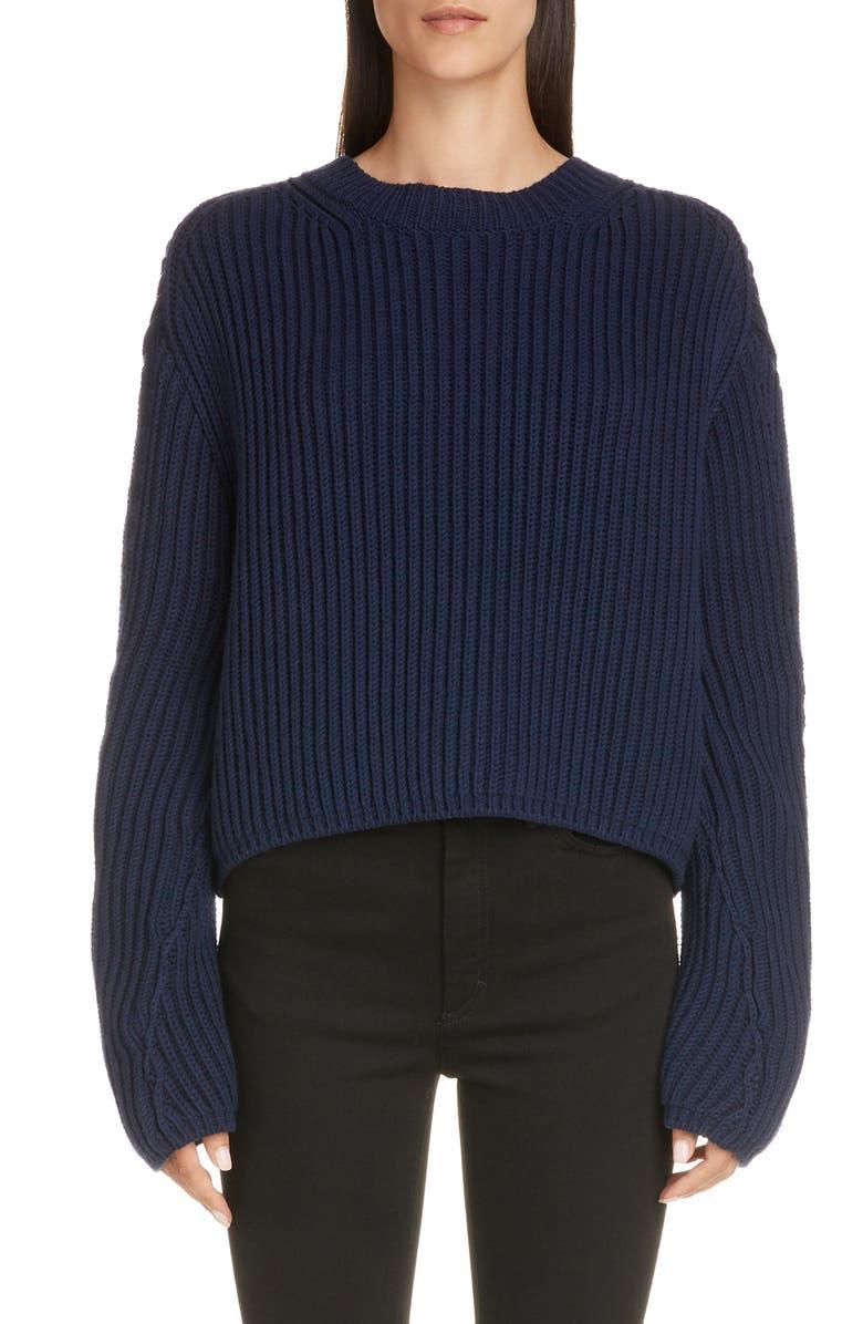ACNE STUDIOS Khali Rib Crewneck Sweater, Main, color, NAVY BLUE
