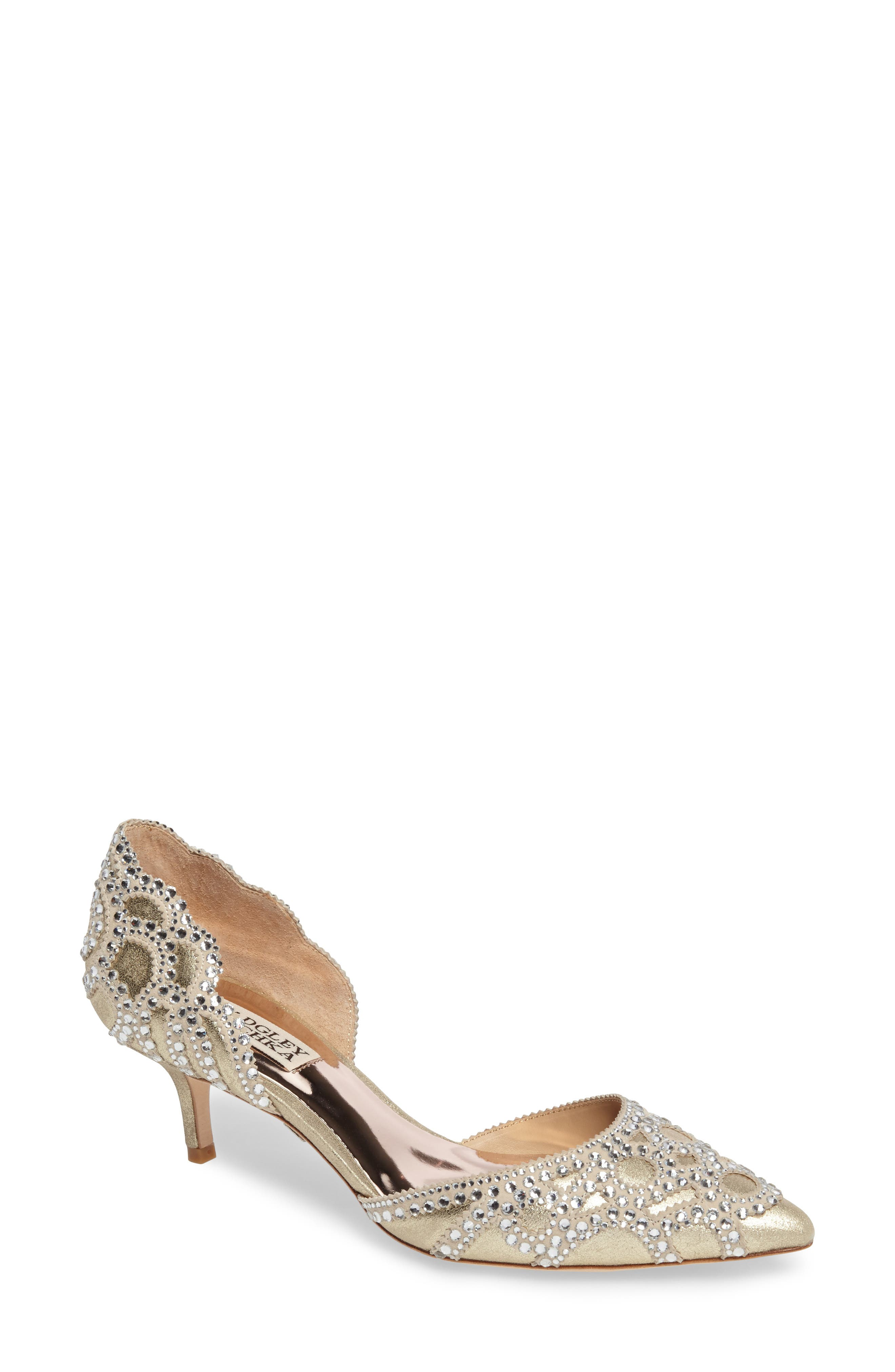 Badgley Mischka 'Ginny' Embellished d'Orsay Pump, Main, color, PLATINO METALLIC SUEDE