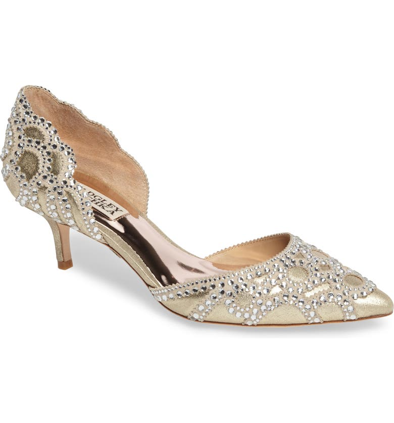 BADGLEY MISCHKA COLLECTION Badgley Mischka 'Ginny' Embellished d'Orsay Pump, Main, color, PLATINO METALLIC SUEDE