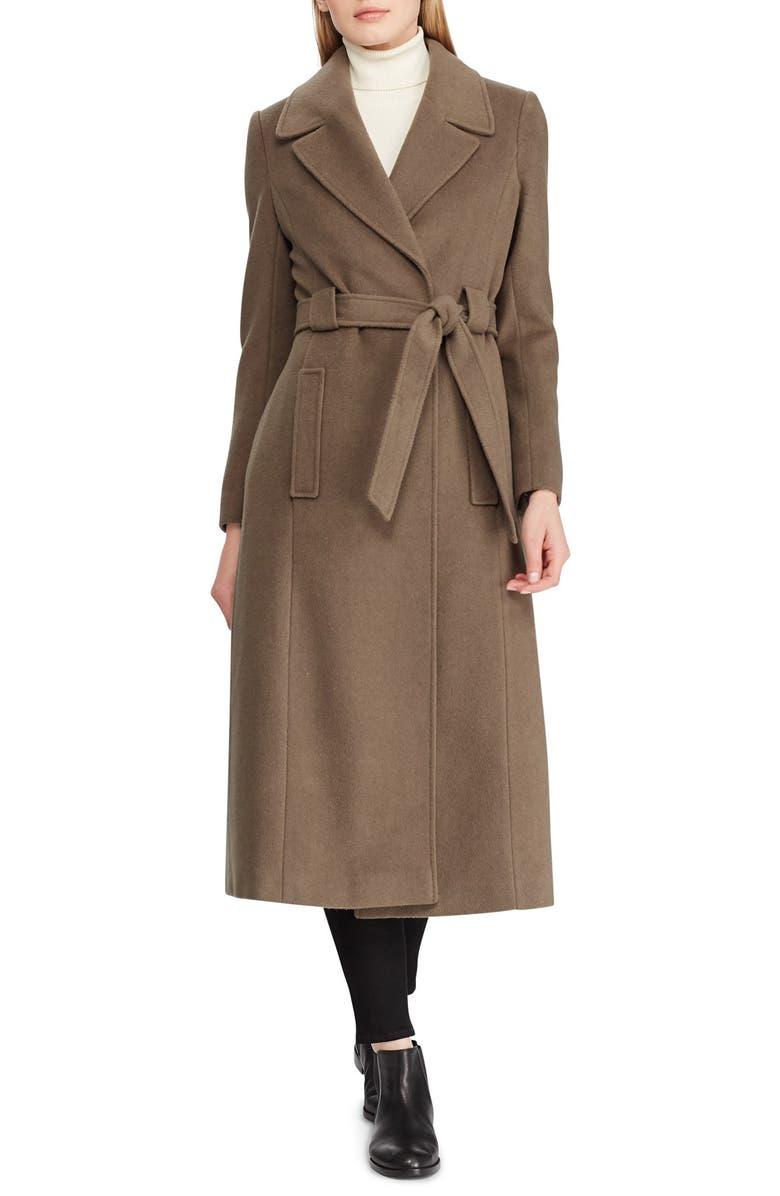 LAUREN RALPH LAUREN Wrap Overcoat, Main, color, MINK