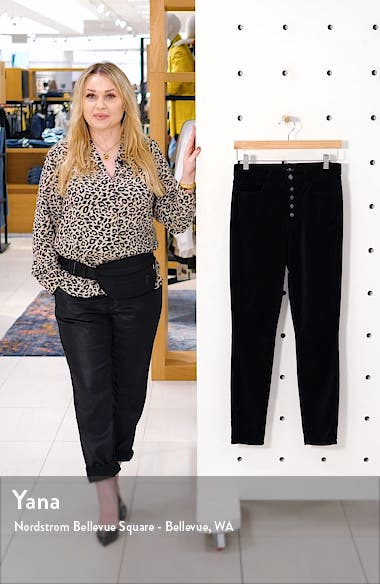 7 For All Mankind The High Waist Exposed Button Fly Velveteen Ankle Skinny Pants, sales video thumbnail
