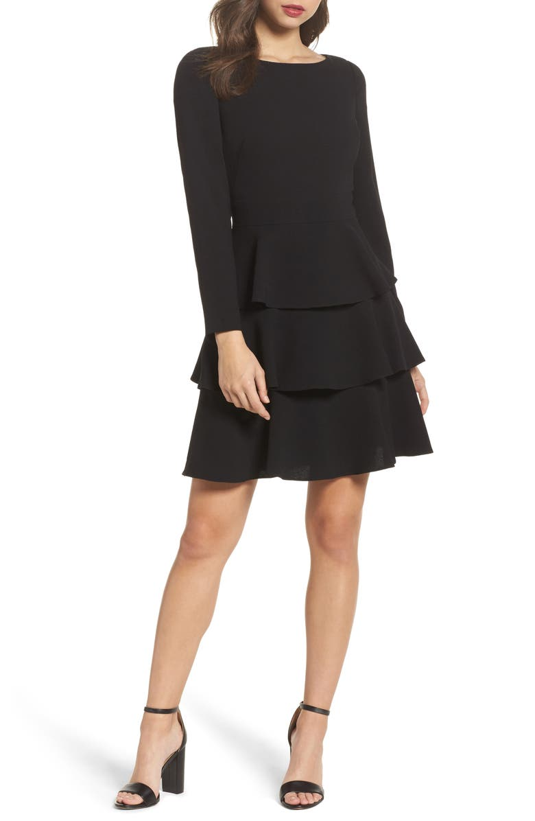 ELIZA J Ruffle Fit & Flare Dress, Main, color, 001