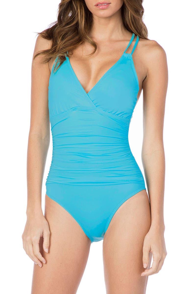 LA BLANCA Island One-Piece Underwire Swimsuit, Main, color, AQUA