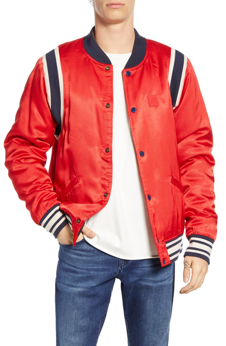 SCOTCH & SODA Brutus Bomber Jacket, Main, color, LIFEGUARD RED