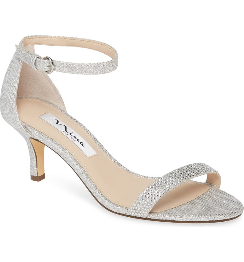 NINA Clarice Ankle Strap Sandal, Main, color, SILVER FABRIC