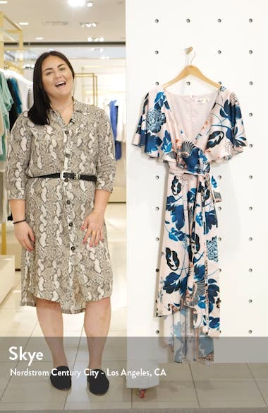 Floral High/Low Faux Wrap Dress, sales video thumbnail