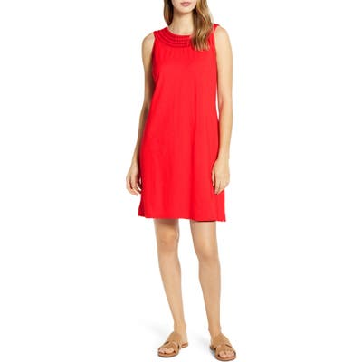 Tommy Bahama Embroidered Neck Dress, Red