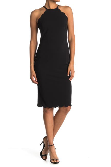 Image of Maggy London Scallop Sheath Halter Dress