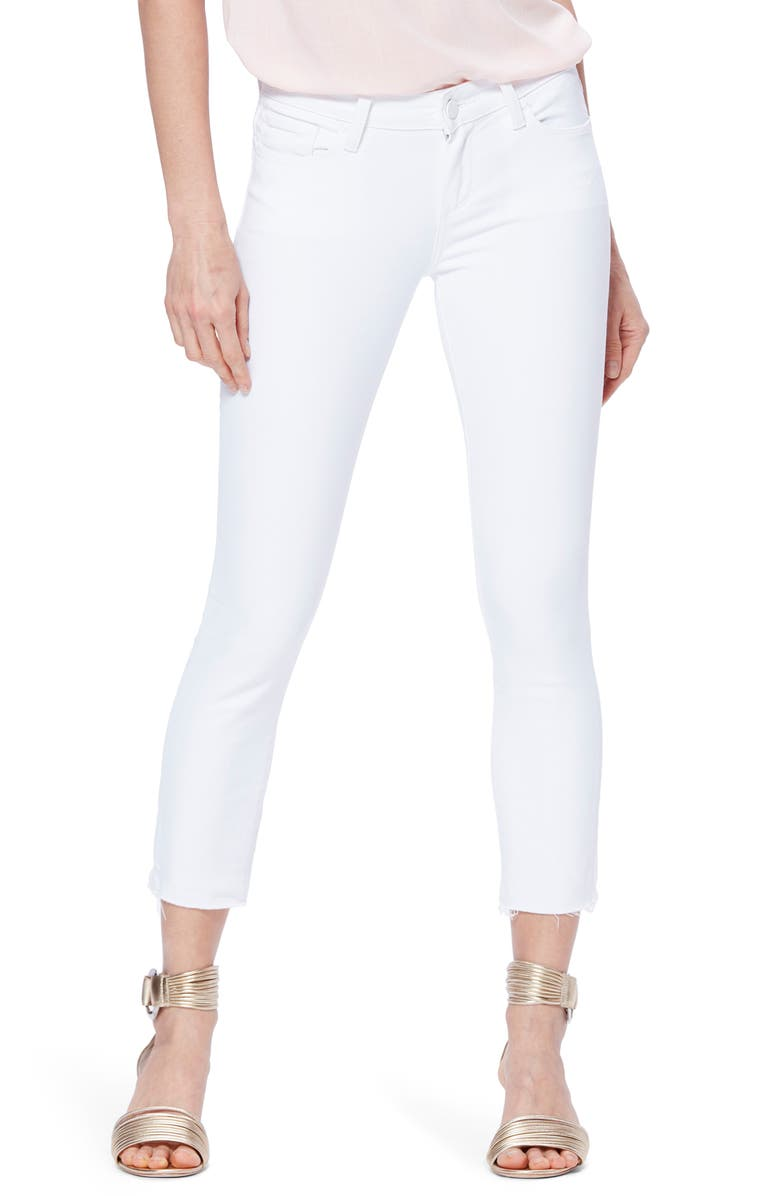 PAIGE Skyline Crop Raw Hem Skinny Jeans, Main, color, CRISP WHITE