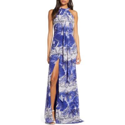 Mark + James By Badgley Mischka Floral Print Drape Front Maxi Dress, Blue