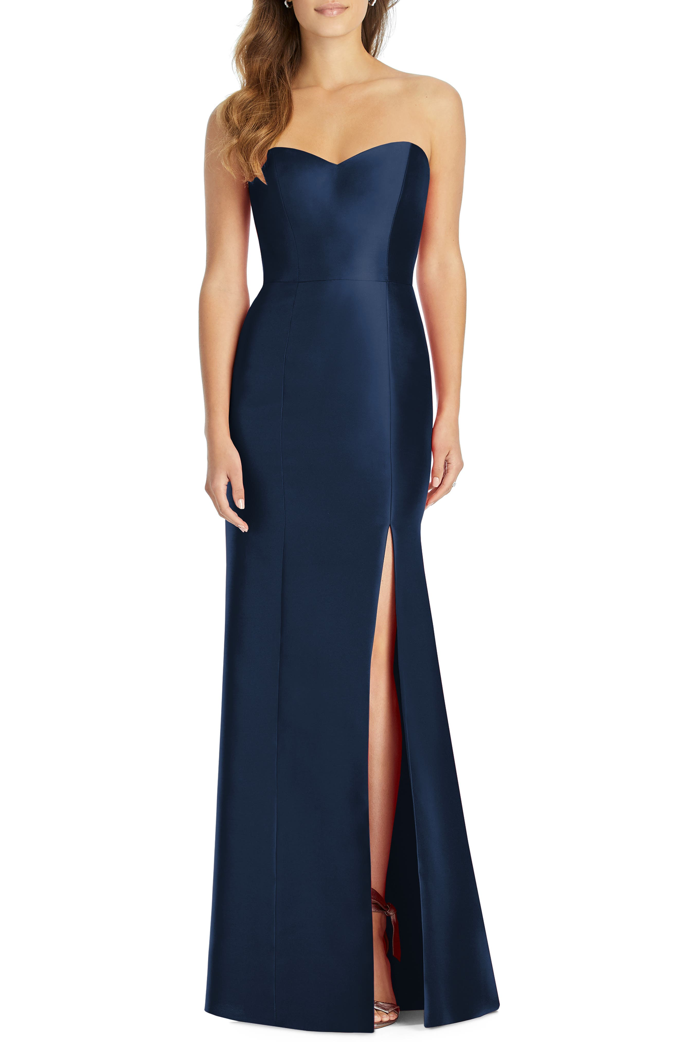 Alfred Sung Sateen Twill Strapless Trumpet Gown, Blue