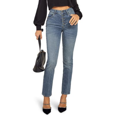 Reformation Liza High Waist Ankle Straight Leg Jeans, 3 - Blue