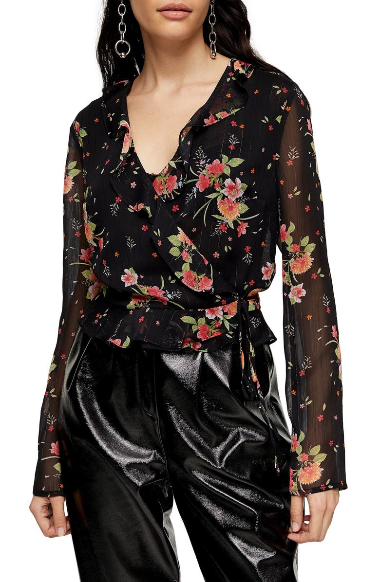 TOPSHOP Floral Print Sheer Wrap Blouse, Main, color, BLACK MULTI